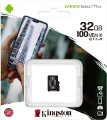 Карта памяти MicroSDHC Kingston 32 GB 100Mb/s, class 10 (с адаптером)